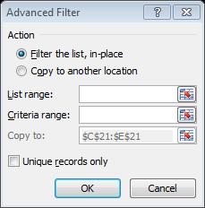excel advance filter dialog box