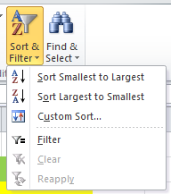 excel filter in home tab