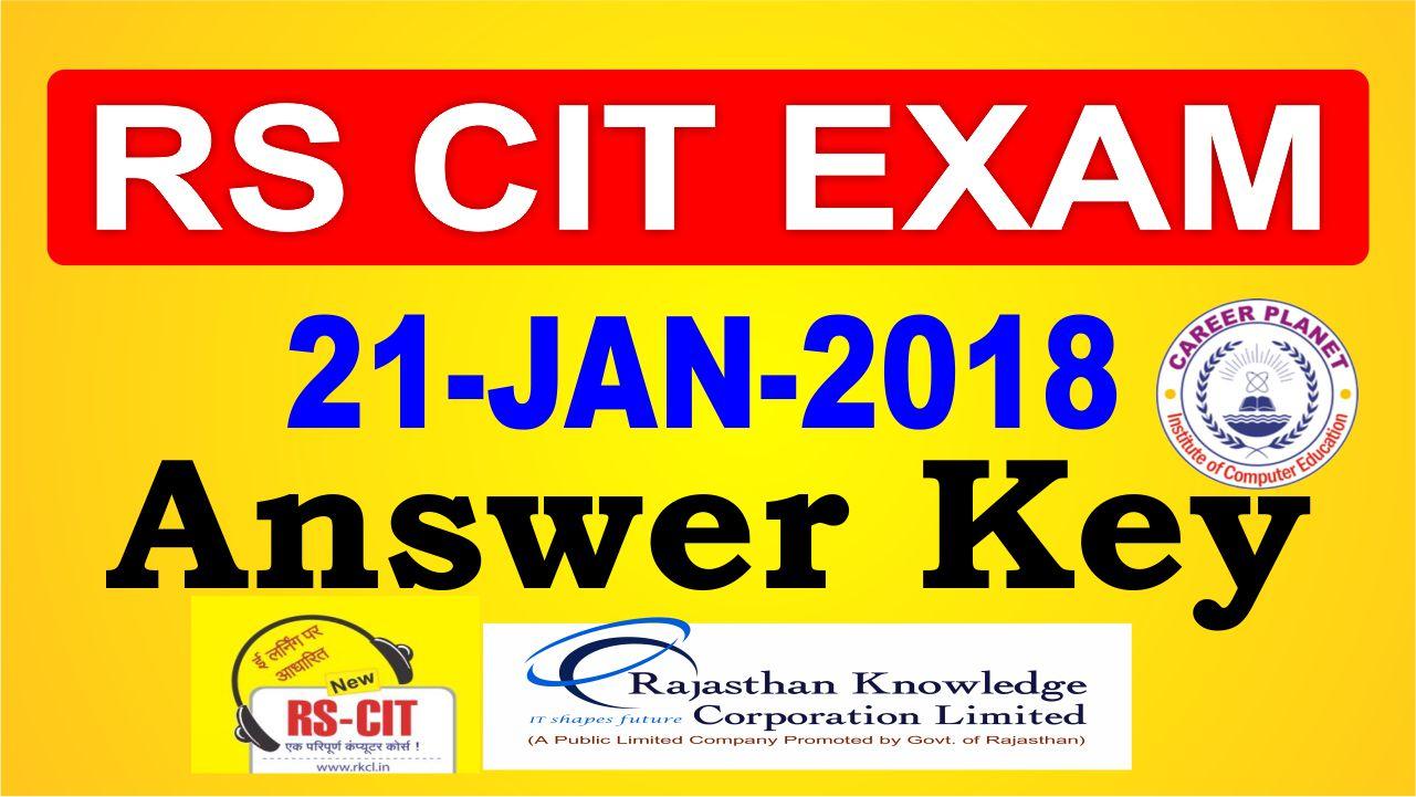 rscit answer key 21 January 2018