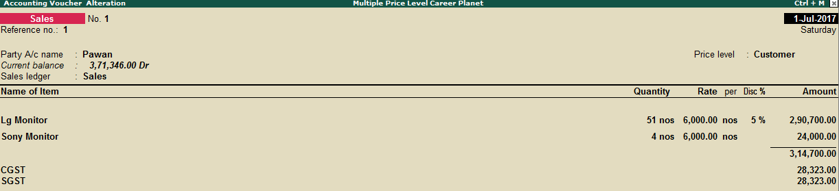 Use Multiple Price Levels Price List in Tally ERP 9 under GST