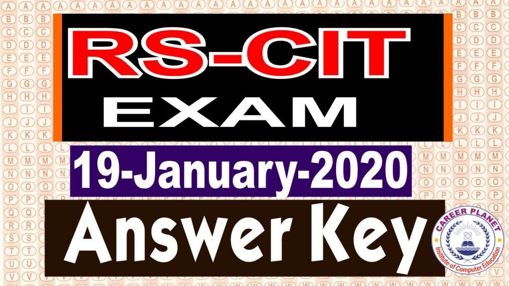 RSCIT Answer Key 19 January 2020