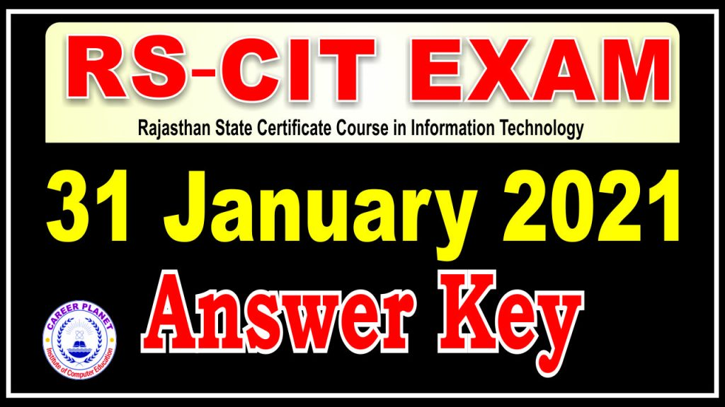RSCIT Answer Key 31 January 2021